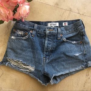RE/DONE Distressed Short Short Jeans Size 23
